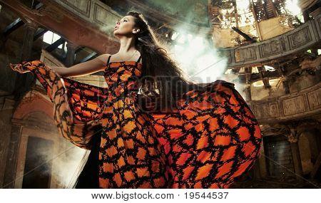 Gorgeous woman in beautiful dress