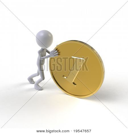 man pushing big golden coin