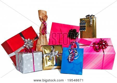 Photo of a group of wrapped gift presents cut out on a white background.