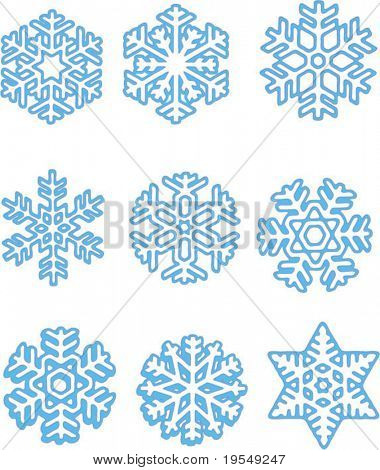 Blue snowflakes set. Easy to edit.
