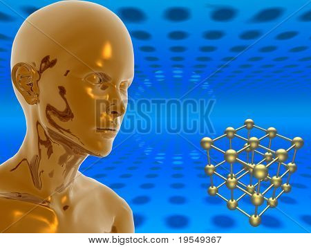 Surreal golden girl on futuristic background. 3d scene. More in my portfolio.