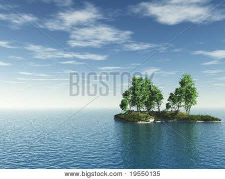 Small green island with trees - 3d illustration.