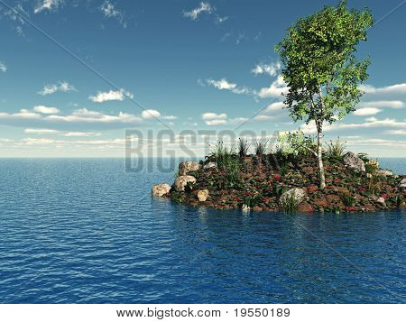 Small green island with birch tree - 3d illustration.
