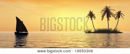 Sunset coconut palm trees on island  and small boat - 3d illustration.