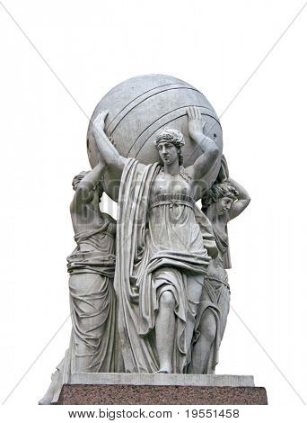 Allegorical statues about admiralty  isolated on a white background. St.Petersburg , Russia