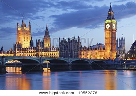 Crepúsculo de Big Ben Tower Bridge de Londres Reino Unido