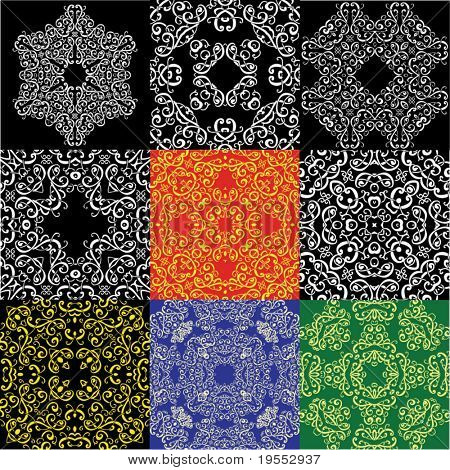 Set from nine abstract ornamental patterns - vector illustration