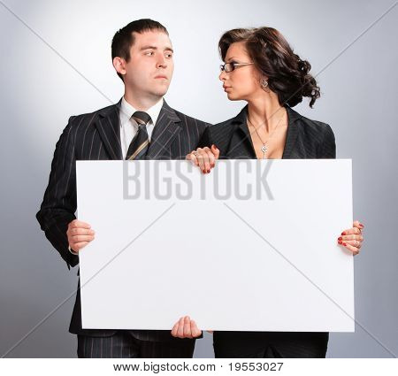 A young couple is blank
