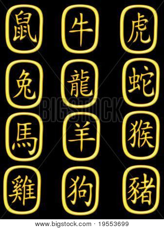 Golden chinese zodiac on a black background - graphic illustration.