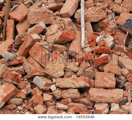 Heap of a beaten brick - grunge background