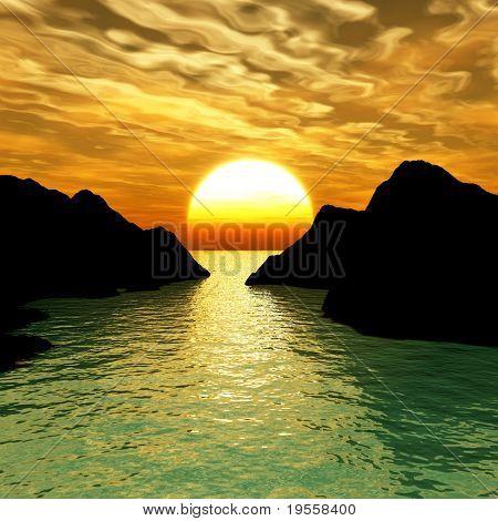 Sunset at rocky sea coast - digital artwork