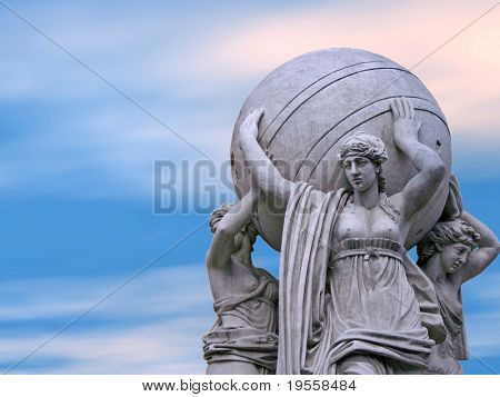 Allegorical statues about admiralty on a sky  background. St.Petersburg , Russia