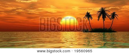Sunset coconut palm trees on small island.