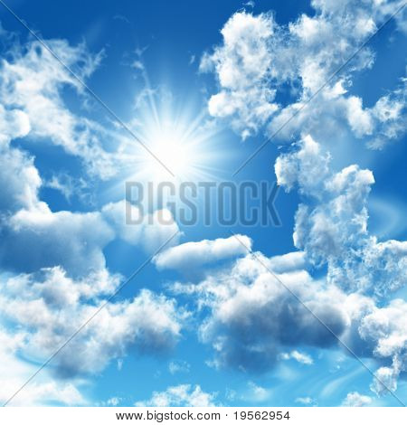Blue sky with white clouds - digital artwork.
