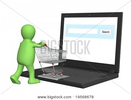 Conceptual image - virtual shopping. 3d