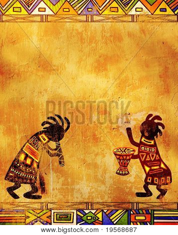 Dancing musicians. African traditional patterns