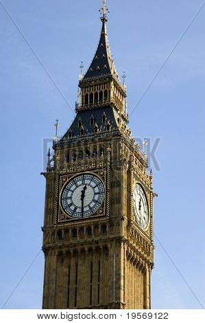 Close up of Big Ben on a lovely London spring day