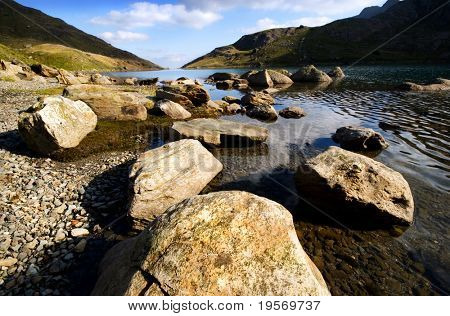 Rocks leading into a fresh water mountain lake on a sunny day