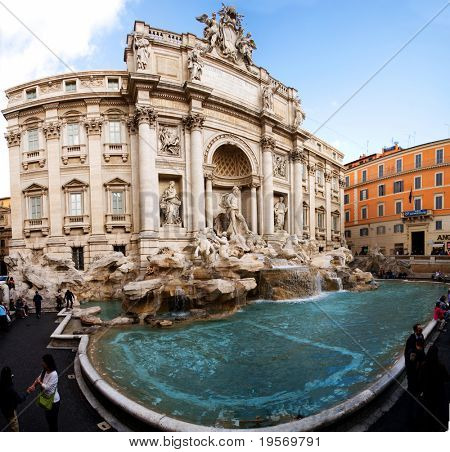 A cylindrical panoramic shot of the famous Trevi fountain, Rome, Italy.