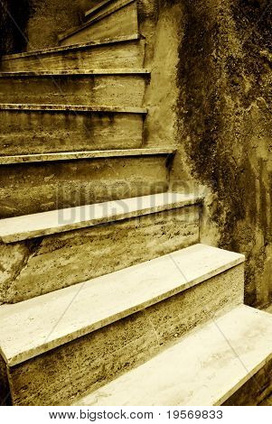 Medieval grunge stairway from an old European village