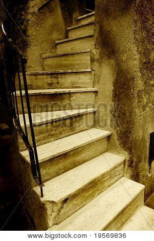 Medieval grunge stairway from an old European village