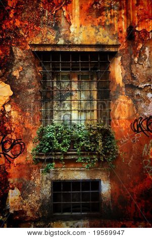Old grungy textured window box from an old traditional Italian village