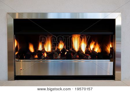 A modern interior fireplace