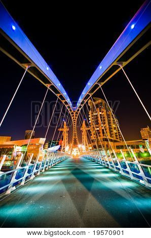 A Bridge with colorful  Lights at night time