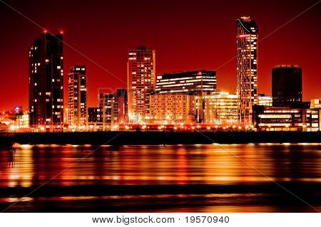 Artistic image of modern buildings in red colours