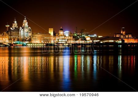 Night time Liverpool city reflections in to the Merseyside River