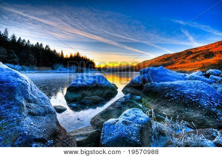 beautiful lake view with mountain range and sunset