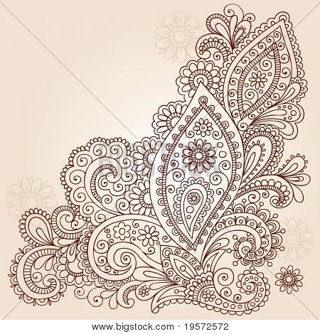 Hand-Drawn Abstract Henna Mehndi Abstract Flowers and Paisley Shaped Doodle Vector Illustration Design Elements