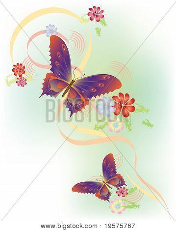 Butterflies flying in meadow