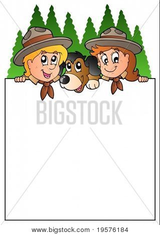 Blank frame with lurking scouts - vector illustration.