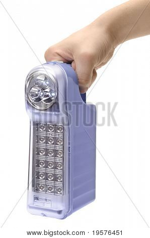 jacklight in hand isolated on a white background