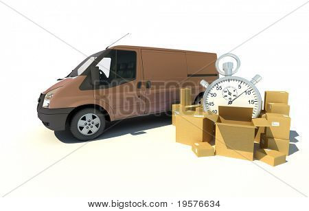 3D rendering of a brown van, a pile of boxes and a chronometer