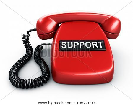 3d rendering of an old vintage phone with one BIG button saying SUPPORT