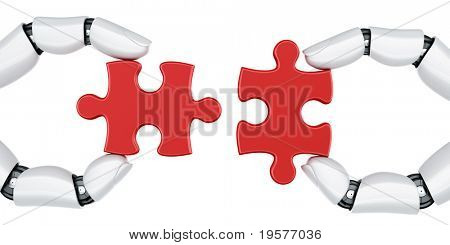 3d rendering of a two robot hands holding a puzzle piece