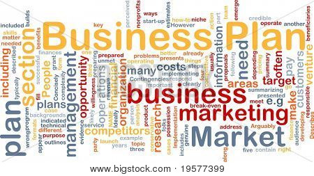 Background concept wordcloud illustration of business plan