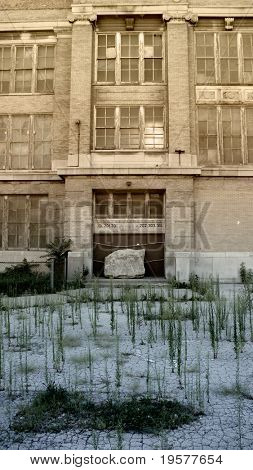 Abandoned inner city school entrance