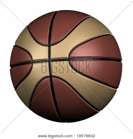 high resolution 3d brown basketball isolated on white background, best for sport and team related designs