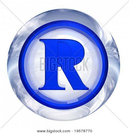 3D azul e branco vidro isolado no branco, com símbolo 3d para web design buttons.rights sinal de esfera.
