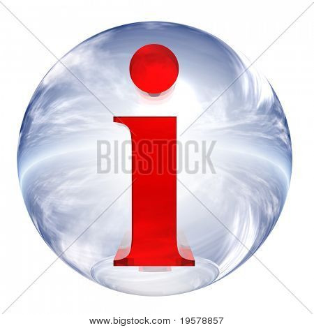3d blue and white glass sphere isolated on white background,with red 3d symbol for web design buttons.info sign.