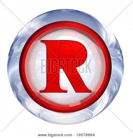 isolado no fundo branco, com vermelho símbolo 3d para botão de web design de esfera de vidro azul e branco 3D