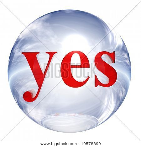 3d blue and white glass sphere isolated on white background,with red 3d symbol for web design buttons.yes sign.