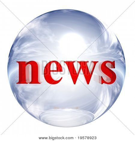 3d blue and white glass sphere isolated on white background,with red 3d symbol for web design buttons.news sign.