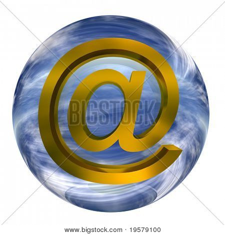 3d blue glass sphere isolated on white background,with yellow metal or gold 3d at or mail symbol for web design buttons or signs.