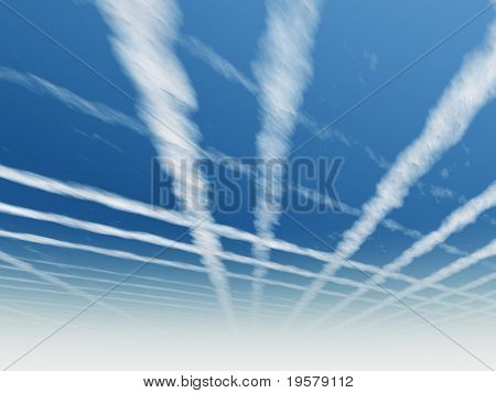 high resolution 3d blue sky background with white clouds and airplane trails. Ideal for nature,health,sport or holiday designs and for flight symbols.