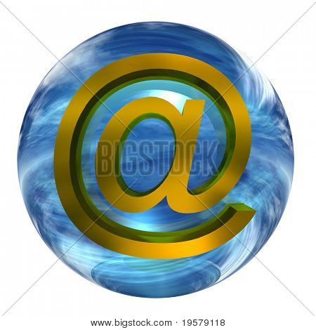 3d blue glass sphere isolated on white background,with an golden or yellow metal 3d at or mail symbol for web design buttons or signs.