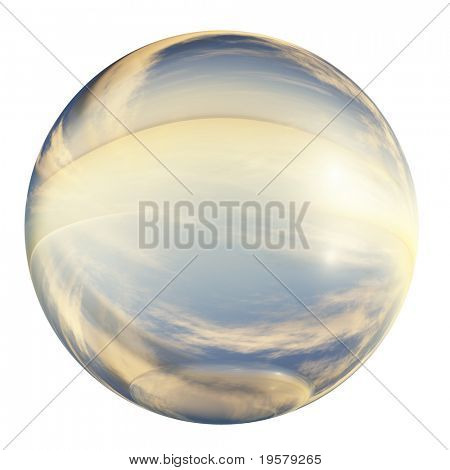 3d blue and yellow glass sphere isolated on white background,ideal for 3D symbols, signs or web buttons. It is a sphere reflecting a blue sky with clouds